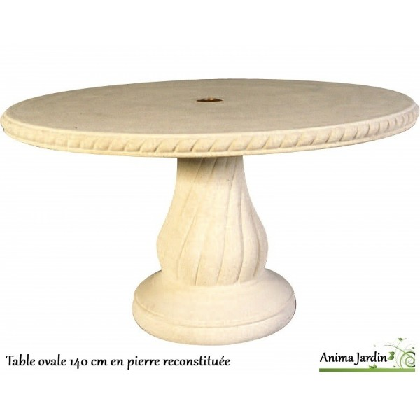 Table en pierre reconstitu e ovale 140 cm grandon achat - Table de jardin en pierre reconstituee ...