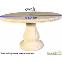 Table en pierre reconstituée, ovale 140  cm, Grandon, achat/vente