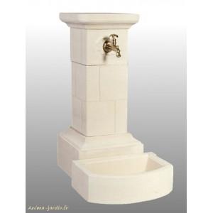 Fontaine Borne en pierre reconstituée 95 cm Grandon, achat/vente ref 090  200, forme carré