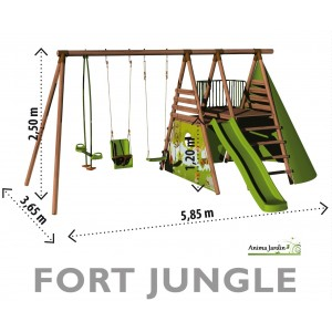 aire de jeux fort jungle balan oire cabane mur varappe toboggan pas cher achat. Black Bedroom Furniture Sets. Home Design Ideas