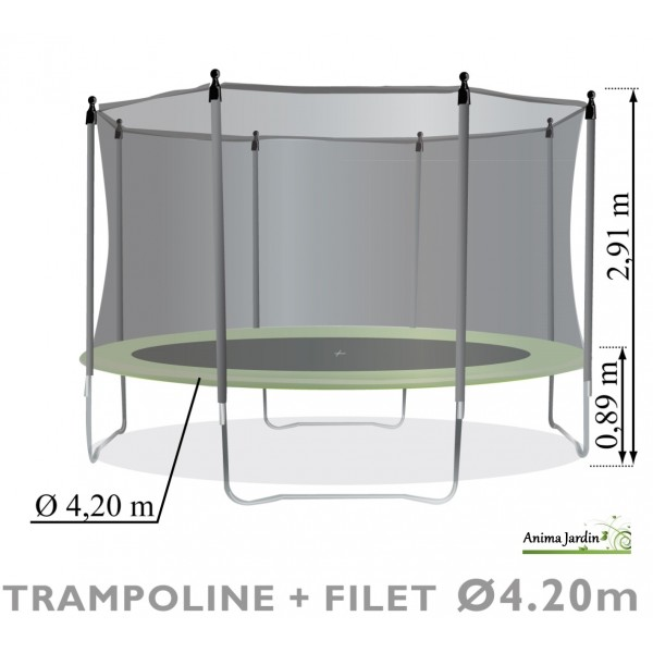 trampoline enfant avec protection filet 420cm jeux de jardin pas cher achat vente. Black Bedroom Furniture Sets. Home Design Ideas