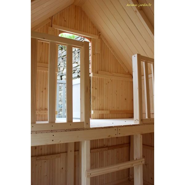 Maisonnette enfant en bois duplex mezzanine achat pas for Achat baignoire pas cher