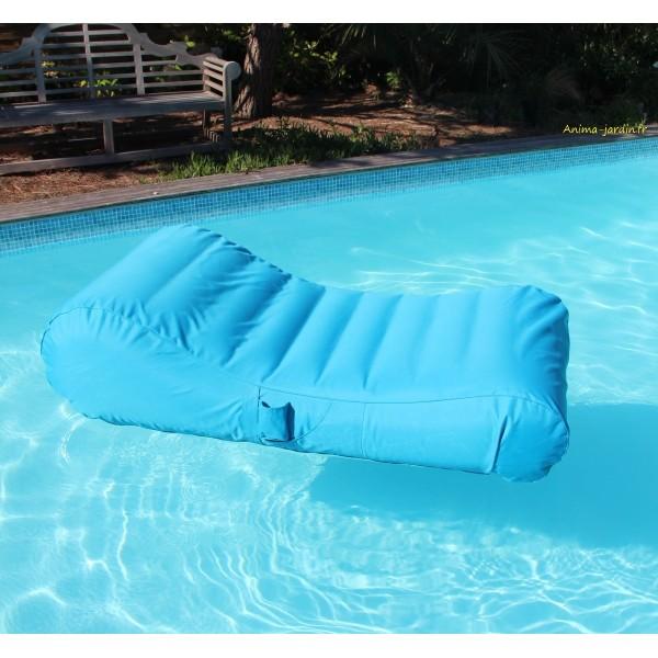 Matelas de piscine flottant wave gonflable canap pouf for Bac piscine pas cher