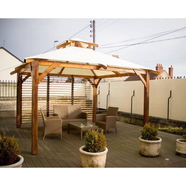 Tonnelle bois 4 pentes spacio avec ventelles couverture for Achat pierre deco jardin