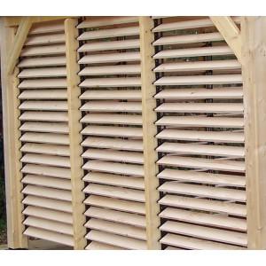 Panneau bois ventelles articulées pour Tonnelle 4 pentes SPACIO