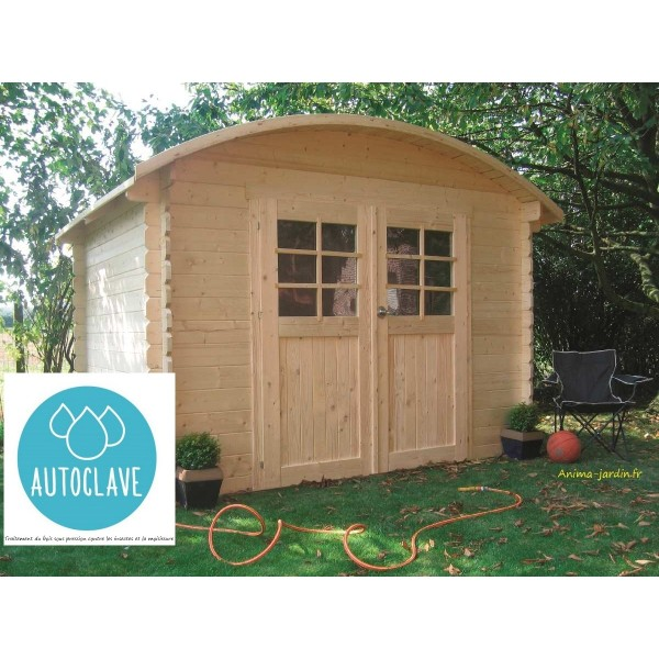 Abri de jardin en bois autoclave dainville toit arrondi for Abri jardin autoclave