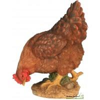 Poule Marron en résine qui picore, 26cm, animal basse cour, Riviera