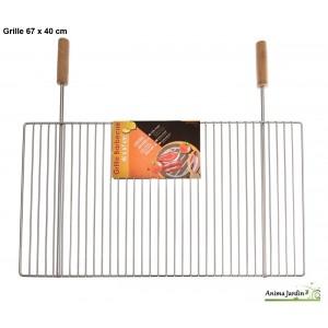 Grande grille barbecue 67 x 40 cm, grille simple de cuisson en métal inox