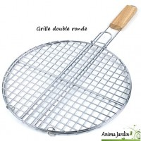 Grille barbecue Ronde 38cm, double, grille de cuisson en métal inox