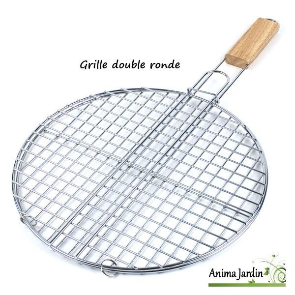 Grille barbecue ronde 38cm double grille de cuisson en m tal inox - Grille de barbecue ronde ...