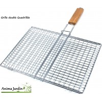 Grille barbecue Rectangle 43cm, double, grille de cuisson en métal inox