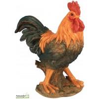 Coq Orange en résine 30 cm, figurine déco extérieur, basse cour, riviera