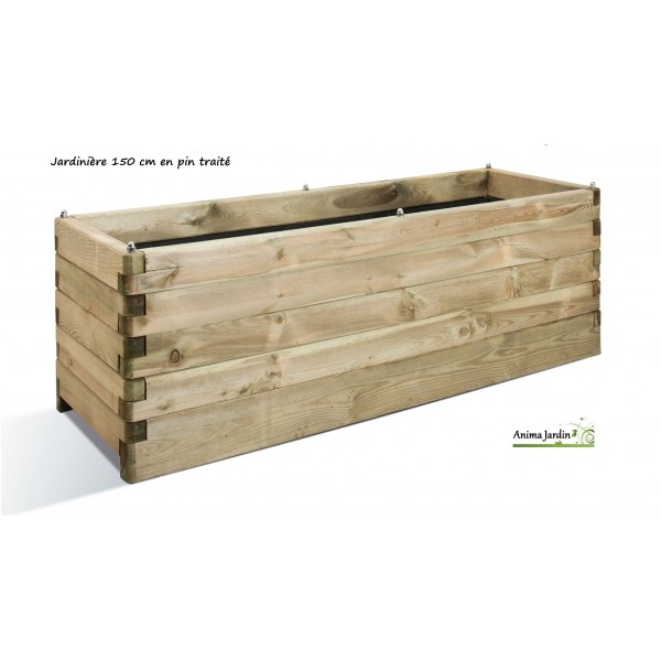 Grande jardini re bois 150cm pour plantes autoclave for Grande jardiniere beton