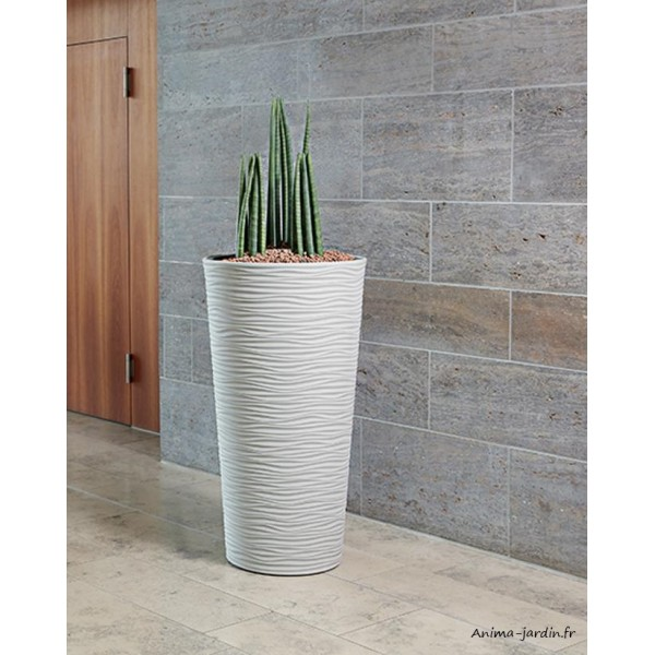 Grand pot natura en r sine 110cm ext rieur contemporain for Grand pot exterieur jardin