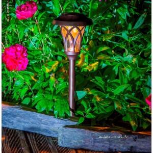 Borne solaire Leds, EDEN, balise à planter, design esprit lanterne romantique, pas cher