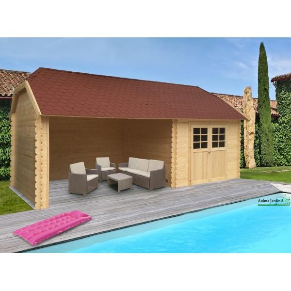 Abri de jardin en bois moiti ouvert cottage solid 4 pentes 2 portes - Abri jardin ouvert bois lyon ...