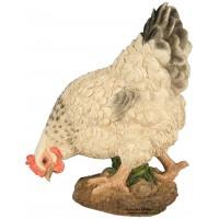 Poule Blanche en résine qui picore, 26cm, animal basse cour, Riviera