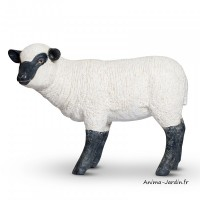 Agneau debout en résine, petit mouton tête haute, animal de la ferme