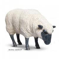 Mouton Blanc debout en fibre de verre, Brebis tête Basse noire, animal de la ferme
