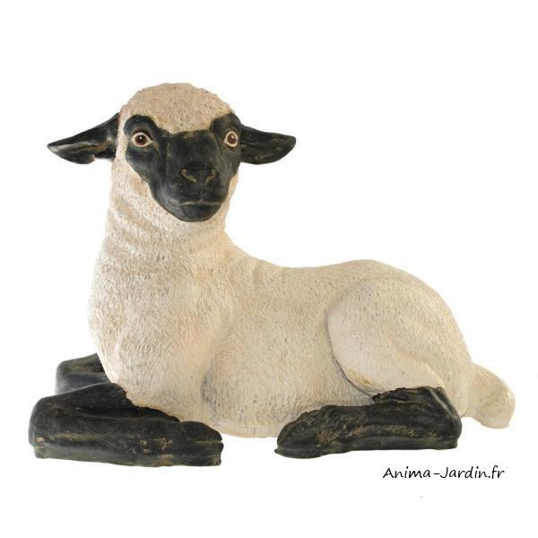 Agneau couch en fibre de verre petit mouton t te noire for Mouton deco jardin