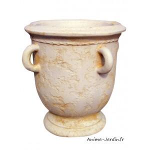pot ancien en pierre avec anse ocre ton vieilli jarre. Black Bedroom Furniture Sets. Home Design Ideas