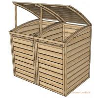 Coffre en bois pour 2 poubelles, cache poubelles double, bois autoclave, solid, achat