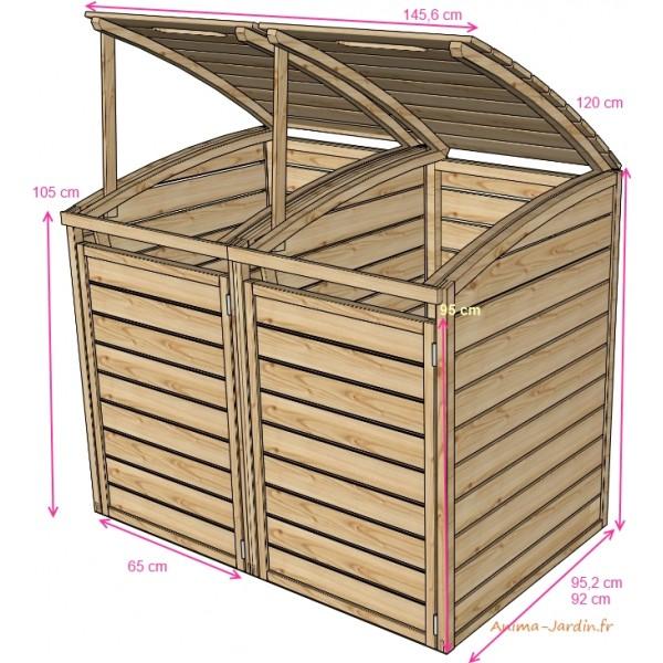 Coffre en bois pour 2 poubelles cache poubelles double bois autoclave solid achat - Poubelle en bois ...