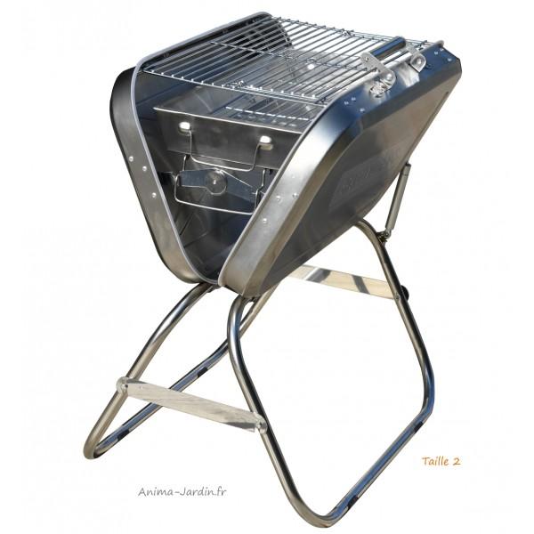 barbecue charbon de bois valise en m tal inox pliable transportable achat. Black Bedroom Furniture Sets. Home Design Ideas