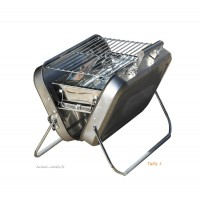 BARBECUE CHARBON de bois valise en métal inox, pliable, transportable, achat