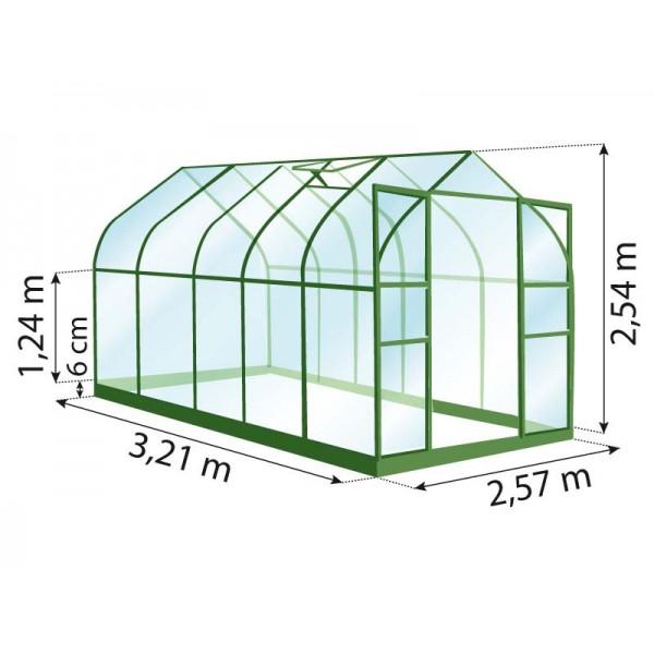 serre de jardin en verre et plexiglass diana 8300 laqu vert pas cher. Black Bedroom Furniture Sets. Home Design Ideas