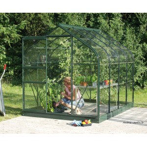 serre de jardin en verre et plexiglass orion 5000 laqu vert pas cher. Black Bedroom Furniture Sets. Home Design Ideas