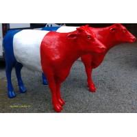 Bœuf debout 136 cm en résine, tricolore, animal de la ferme