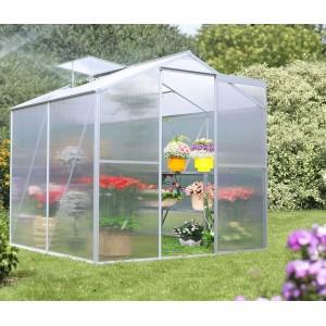 serre de jardin en polycarbonate aluminium 2 39m habrita pas cher. Black Bedroom Furniture Sets. Home Design Ideas