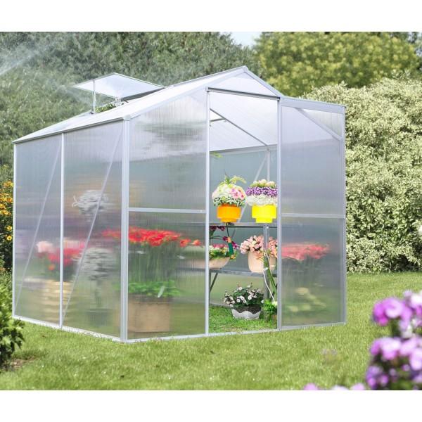 Serre De Jardin En Polycarbonate Aluminium 2 39m Habrita