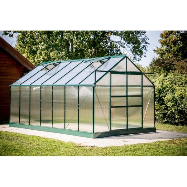 serre de jardin en polycarbonate aluminium vert 10 37m habrita pas cher. Black Bedroom Furniture Sets. Home Design Ideas