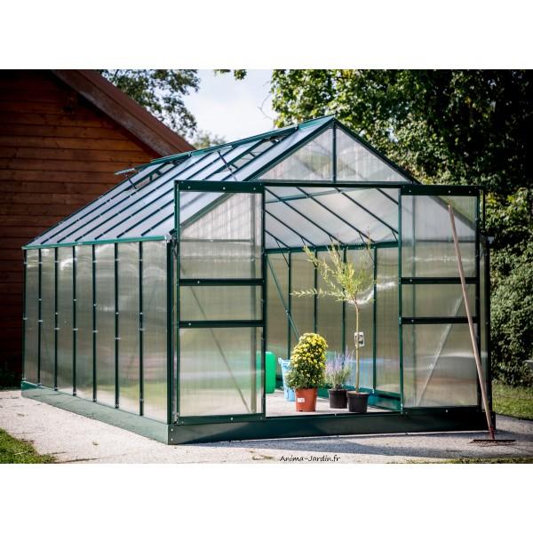 Serre de jardin en polycarbonate aluminium vert 10 37m - Serre de jardin en verre pas cher ...