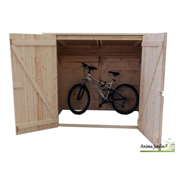 abri mural en bois range vlo scooter moto grand volume foresta - Range Velo Exterieur