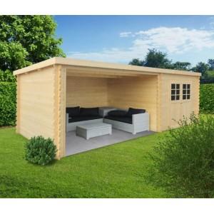 Abri de jardin en bois , ROHAN, toit plat, emboitable, 2 portes, solid, pas  cher