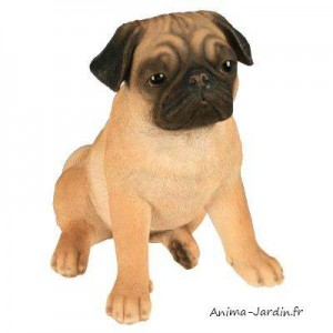 Carlin,  27 cm en résine, déco de jardin, Riviera, achat, chien, animal