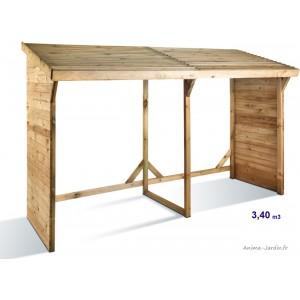Abri bûches en bois autoclave, 3,4 stères, rangement bûches, pas cher, achat