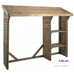Abri bûches en bois autoclave, 1,6 stères, rangement bûches, pas cher, achat