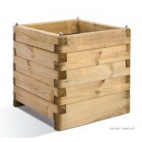 Bac carré OLEA de 50 cm en bois autoclave, bac à fleurs, plantes, pas cher, achat