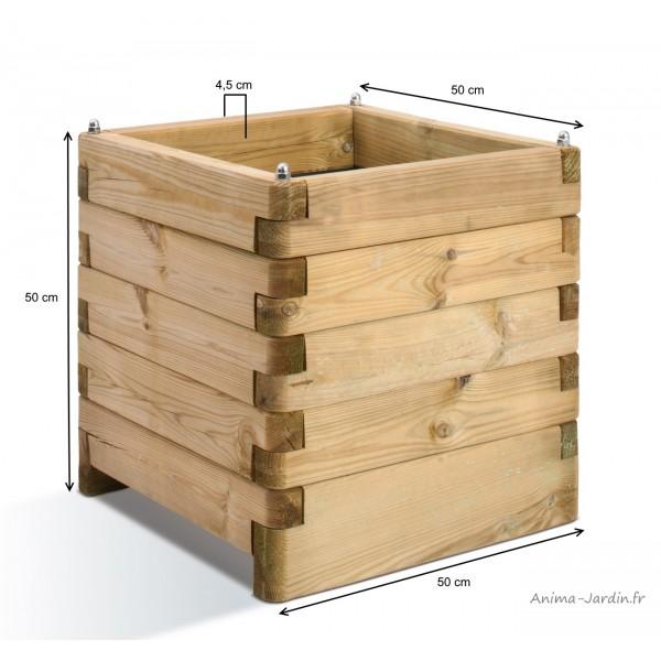 bac carr olea de 50 cm en bois autoclave bac fleurs plantes pas cher achat. Black Bedroom Furniture Sets. Home Design Ideas
