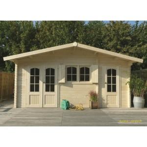 Abri de jardin en bois 40mm, Rostock, 2 pièces, 3 portes, solid, pas cher, habitable