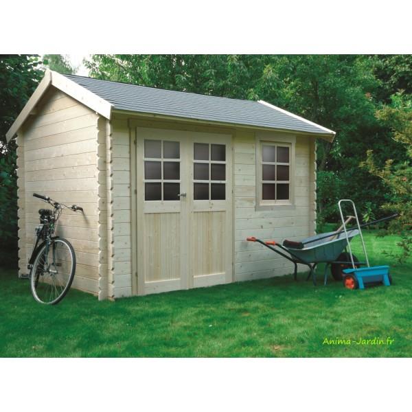 Abri de jardin en bois 28mm arles double porte solid - Abri de jardin pas chere ...