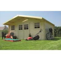 Grand abri de jardin en bois 28mm, Montreux, 23m², 2 portes, Solid, pas cher, achat