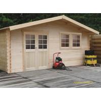 Grand abri de jardin en bois 28mm, Vernier, 26m², porte double, Solid, pas cher, achat