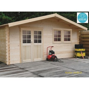Grand abri de jardin en bois traité autoclave 28mm, Vernier, 26m², porte double, Solid, achat