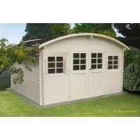 Abri de jardin en bois 28mm, Dainville II, 10 m², toit arrondi, 2 portes, Solid, pas cher, achat