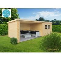Abri de jardin en bois traité autoclave, ROHAN, toit plat, emboitable, 2 portes, solid, pas cher